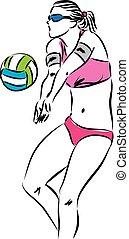 speler, salvo, vrouw, strand, illustrat