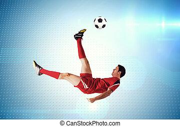 speler, samengestelde afbeelding, voetbal, schoppen, rood