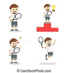 speler, set, tennis, ontwerp, illustratie
