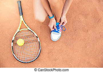 speler, shoelaces, tennis, knopende