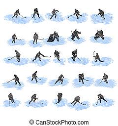 speler, silhouettes, set, grunge, hockey