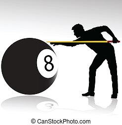 speler, silhouettes, vector, billiard