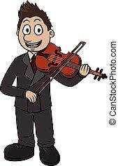speler, spotprent, vector, viool