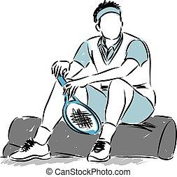 speler, tennis, illustratie, het rusten