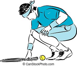 speler, tennis, illustratie