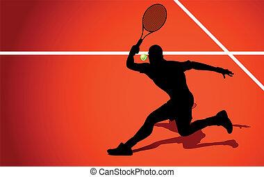 speler, tennis, silhouette