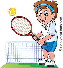 speler, tennis, spotprent