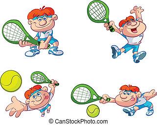 speler, tennis, spotprent, verzameling