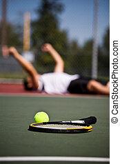 speler, tennis, vrolijke , na, innemend