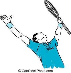 speler, tennis, winnaar, gebaar, illust