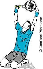 speler, tennis, winnaar, illustratie