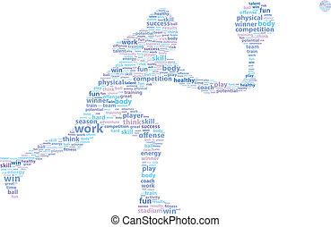 speler, tennis, woord, wolk, sporten