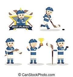 speler, vastgesteld ontwerp, hockey, illustratie