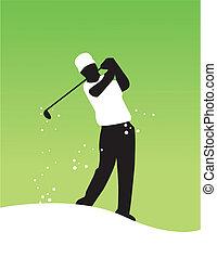 speler, vector, golf