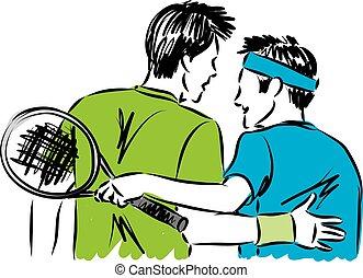 speler, vector, vrienden, illustratie, tennis