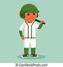speler, vleermuis, honkbal, afrikaan