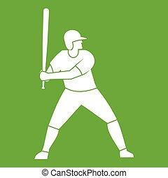 speler, vleermuis, honkbal, groene, pictogram