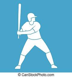 speler, vleermuis, honkbal, witte , pictogram