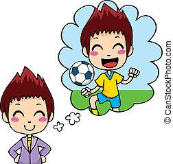 speler, voetbal, geitje