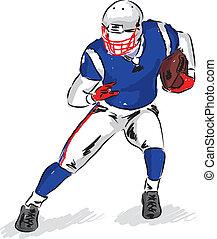 speler, voetbal, illustratie