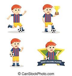 speler, voetbal, set, bal