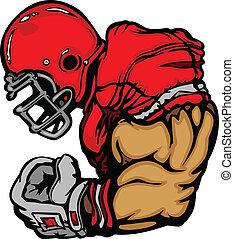 speler, voetbal, spotprent, helm