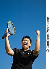 speler, vreugde, tennis, aziaat, innemend