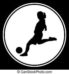 speler, vrouw, voetbal