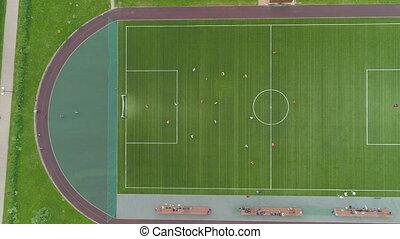 spelers, akker, speelvoetbal, groene, voetbal