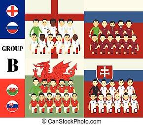 spelers, b, vlaggen, groep