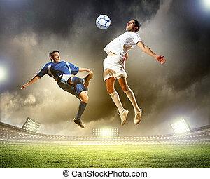 spelers, bal, twee, voetbal, frappant