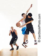 spelers, basketbal, drie