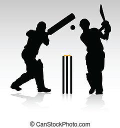 spelers, cricket, vector, twee, silhouet