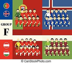 spelers, set, vlaggen, team