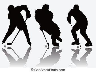 spelers, silhouette, hockey, ijs