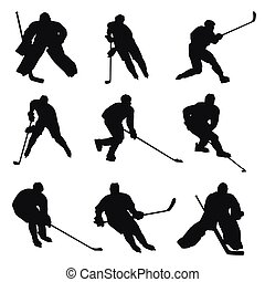 spelers, silhouettes, hockey, ijs