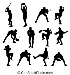 spelers, silhouettes, honkbal