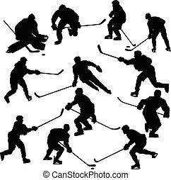 spelers, silhouettes, set, hockey, ijs