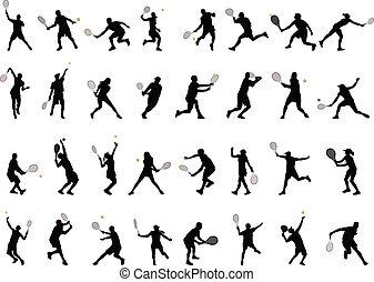 spelers, silhouettes, tennis