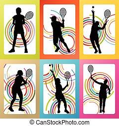 spelers, silhouettes, tennis, set