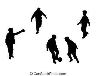 spelers, silhouettes, voetbal