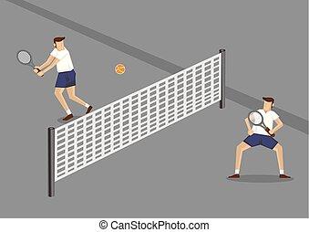 spelers, spotprent, beginneling, tennis, illustratie, vector