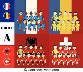 spelers, vlaggen, groep