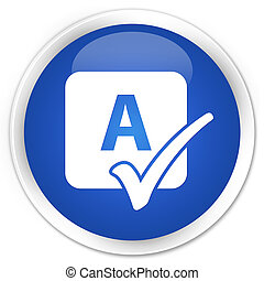 Spell check icon blue glossy round button