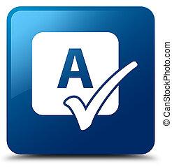 Spell check icon blue square button