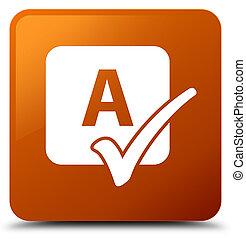 Spell check icon brown square button