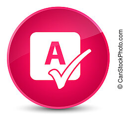 Spell check icon elegant pink round button