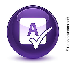 Spell check icon glassy purple round button