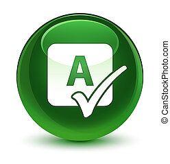 Spell check icon glassy soft green round button