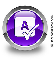 Spell check icon glossy purple round button